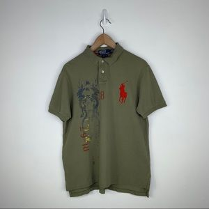 Polo Ralph Lauren Olive Dragon Red Big Pony Size L